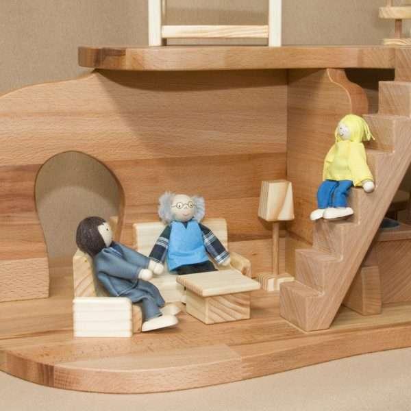 Holzpuppenhaus handgemacht für Kinder zweistöckig